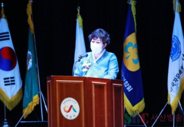 23일 서산시여성단체협의회 제15대 박상춘 회장이 취임사하는 장면.JPG